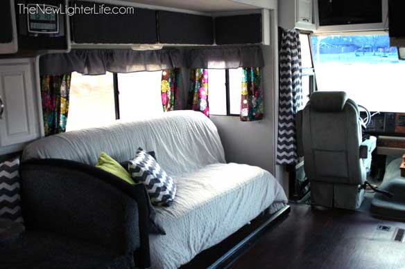Ikea-sofa-bed-in-remodeled-96-winnebago-adventurer