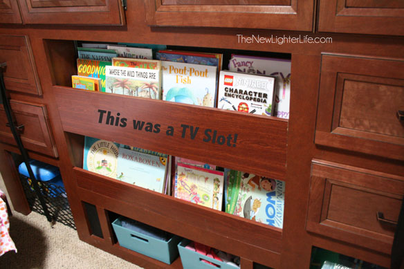 TV-converted-to-Bookcase-rv-bunk-room